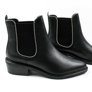 Coach Black Leather Studded Ankle Boots